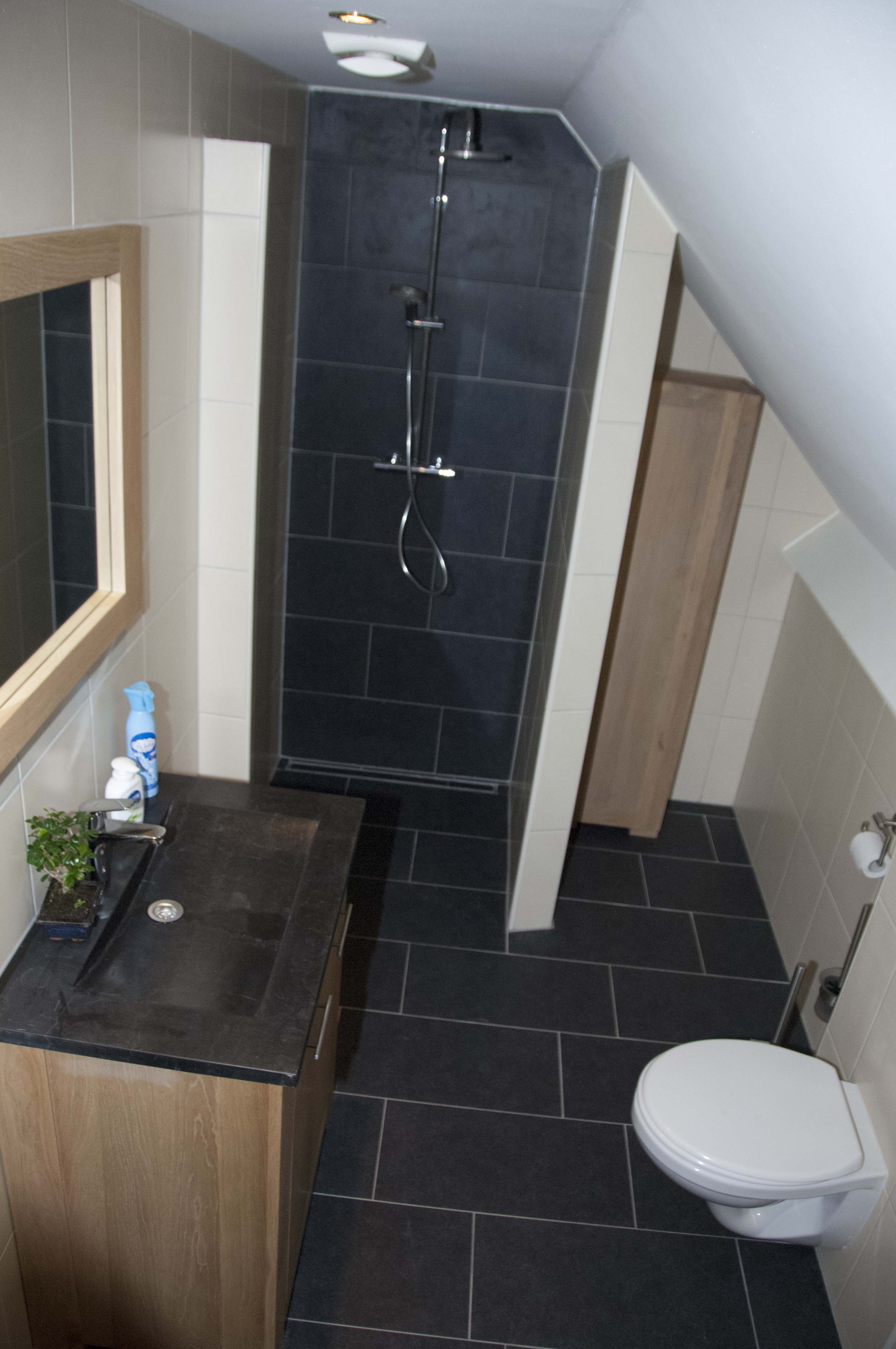 De ruime badkamer met alle gemakken om u verblijf aangenaam te maken.